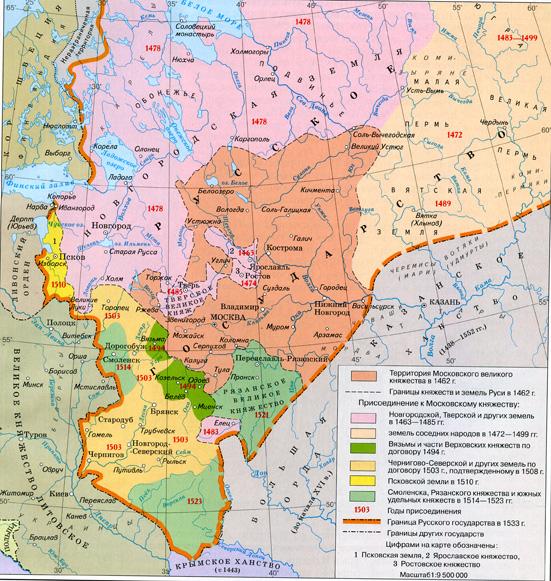 Граница российского государства к 1533 году
