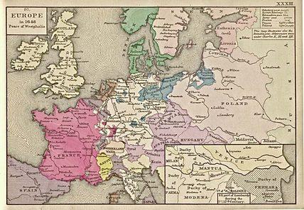 Карта Европы в 1648 году
