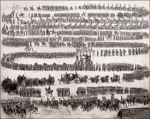 The funeral of Nicholas I. General view of the funeral procession. Drawing by Adolf Charlemagne. 1855