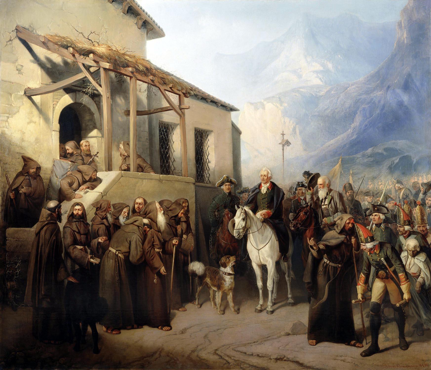 Фельдмаршал А.В.Суворов на вершине Сен-Готарда 13 сентября 1799 года.