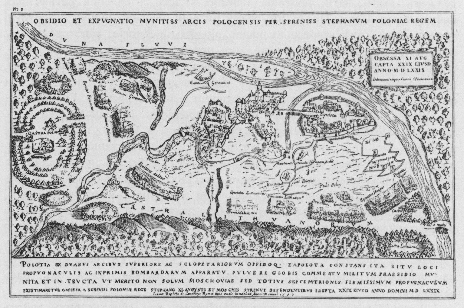 Осада Полоцка Стефаном Баторием в 1579 году. Оттиск с медной доски,  резанной в Риме